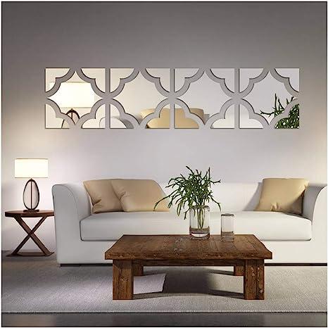 Amazon Com Alrens Tm 20pcs Set Geometric Art 3d Acrylic Mirror Wall Sticker Home Decor Diy Kitchen Living Room Tv Background Decoration Arts Crafts Sewing