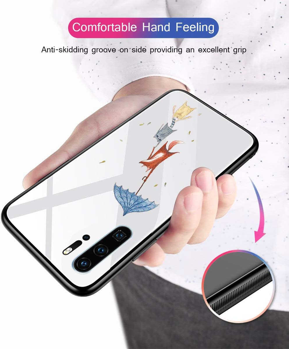 Caler Cover Compatibile con Samsung Galaxy S10e Custodia Protettiva in Vetro Temperato 9H 【AntiGraffio】 + Cornice Paraurti in TPU Silicone Morbido 【Antiurti】 3D Design Vogue Ultra Chic La Fox gioca a ombrello
