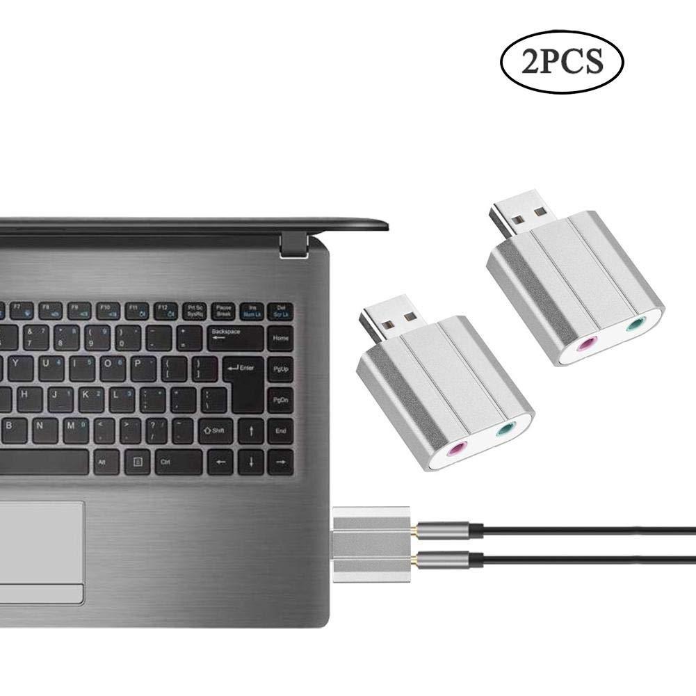 Yosoo- 2PCS 3.5mm Stereo Audio Sound Card, Mini External USB 2.0 Mic Adapter Speaker XP,WIN7, WIN8, WIN10