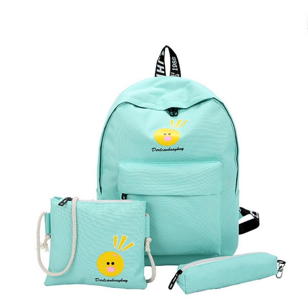Bolso, Manadlian 3PC Mochila de viaje para niñas Bolsas de hombro de dibujos animados Mochila linda de lona ((H)41cm*(L)27cm*(W)11cm, Azul): Amazon.es: ...
