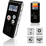 Digital Voice Recorder, Portable Recorder, Multifunctional Rechargeable Dictaphone, FlatLED Audio Voice Recorder Dictaphone, MP3 Music Player with Mini USB Port and Color LCD display, Black-8GB
