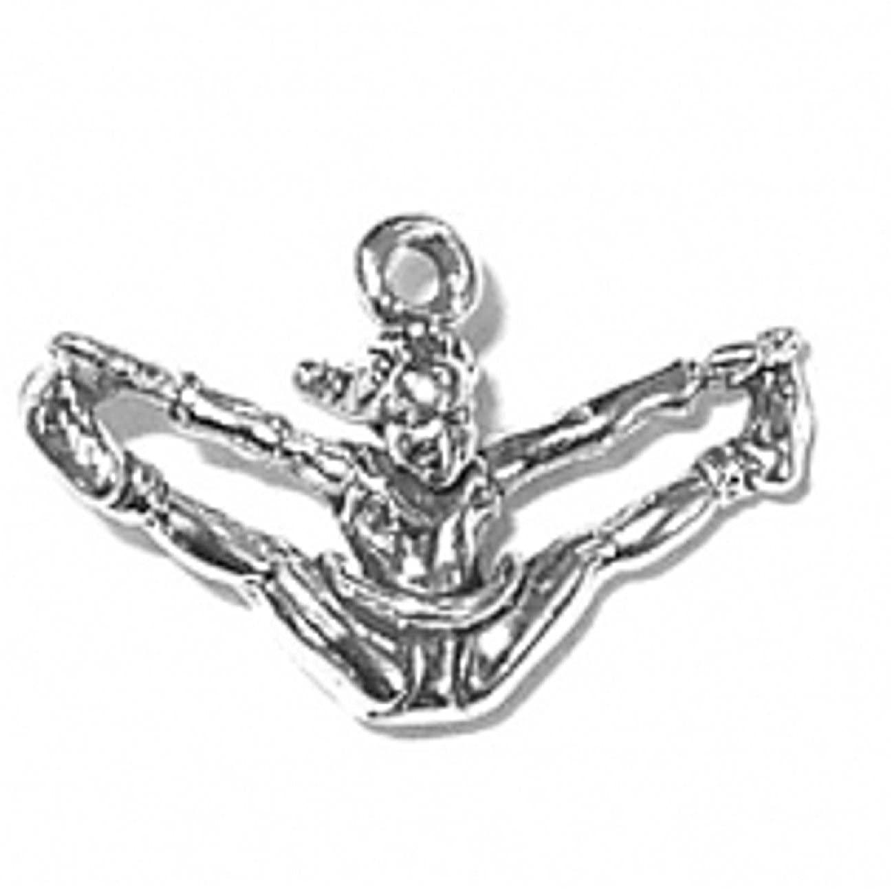 Sterling Silver Girls .8mm 3D Football Cheerleader Doing Toe Touch Jumping Split Pendant Necklace