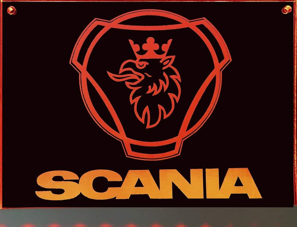 Scania LED-Leuchtschild mit Greif Beleuchtetes Scania Logo-Schild f/ür den 12//24Volt-Anschluss | Edles LED-Schild als Truck-Accessoire 20x15 cm ✓ Ideale Geschenkidee ✓ Lasergraviert