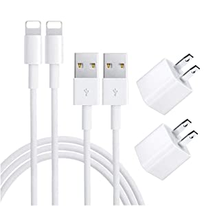 iPhone Charger, iPhone Charger MFi Certified Lightning Cable to USB Fast Charging Data Sync Transfer Cable with 2Pack USB Wall Charger Travel Plug Compatible iPhone 11/Pro/Xs Max/XR/X/8/8Plus and More