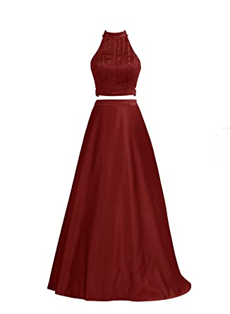 Vinvv Womens Prom Dress Two Pieces Long Beading Bridesmaid Cocktail Party Dress Dark red2