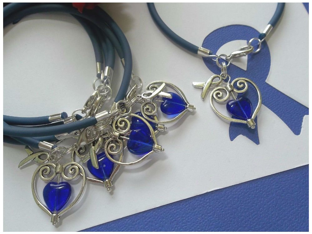 Colon Cancer Awareness Classic Silver Plated Square Crystal Necklace