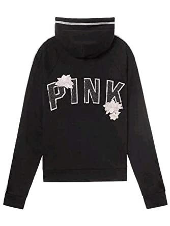 d8f5202d4caa2 Victoria's Secret Pink Bling Perfect Full Zip Hoodie, Black/Glitter ...