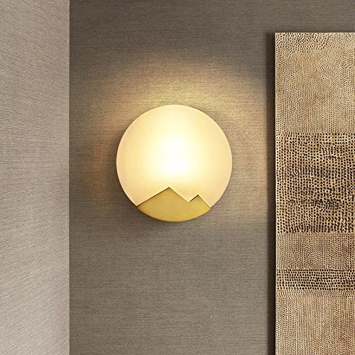Vinteen Golden New Chinese Style Simple Brass Circular Wall Lamp Creativity Personality Bedroom Bedside Lamp Aisle Bathroom Living Room Background Wall Cloud Stone Wall Light Wall Sconce