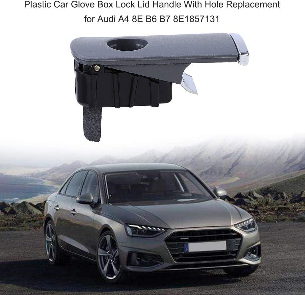 LOOYUAN Black Glove Box Lock Lid Handle Plastic Chrome for Audi A4 8E B6 B7