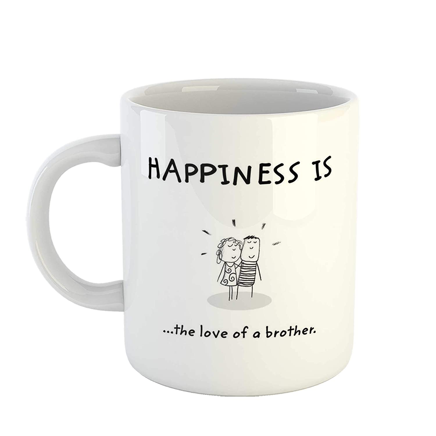 iKraft Brother Gift - Happiness is The Love of a Brother Quotes Printed  Cute Ceramic Coffee Mug Tea Cup