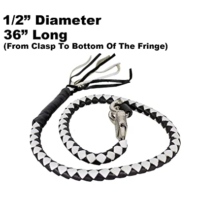 "36"" Long 1/2"" Diameter Black & White Combination Naked Soft Genuine Leather Motorcycle Get Back Whip: Home Improvement"