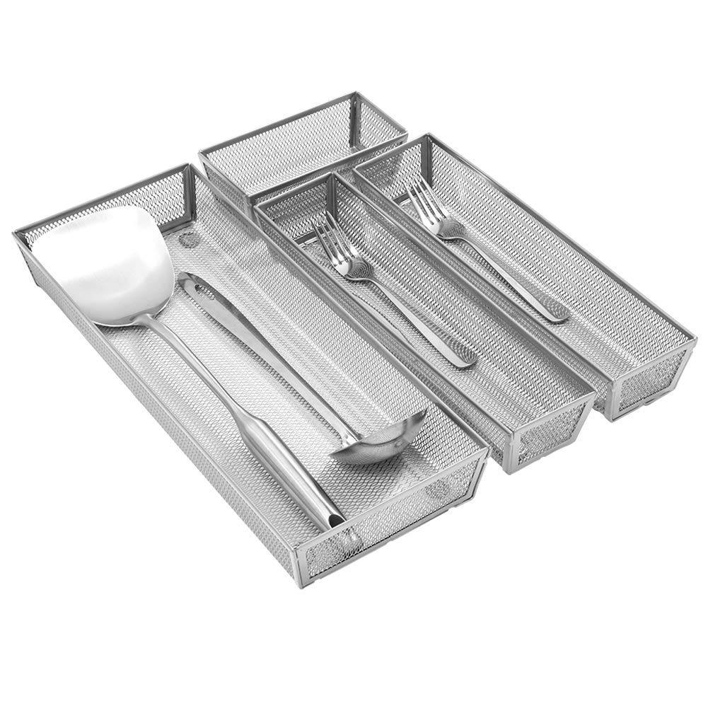 Expandable Kitchen Drawer Organizer, 4 Separate Compartment with Anti-slip Mats Mesh Kitchen Cutlery Trays Silverware Storage Kitchen Utensil Flatware Tray