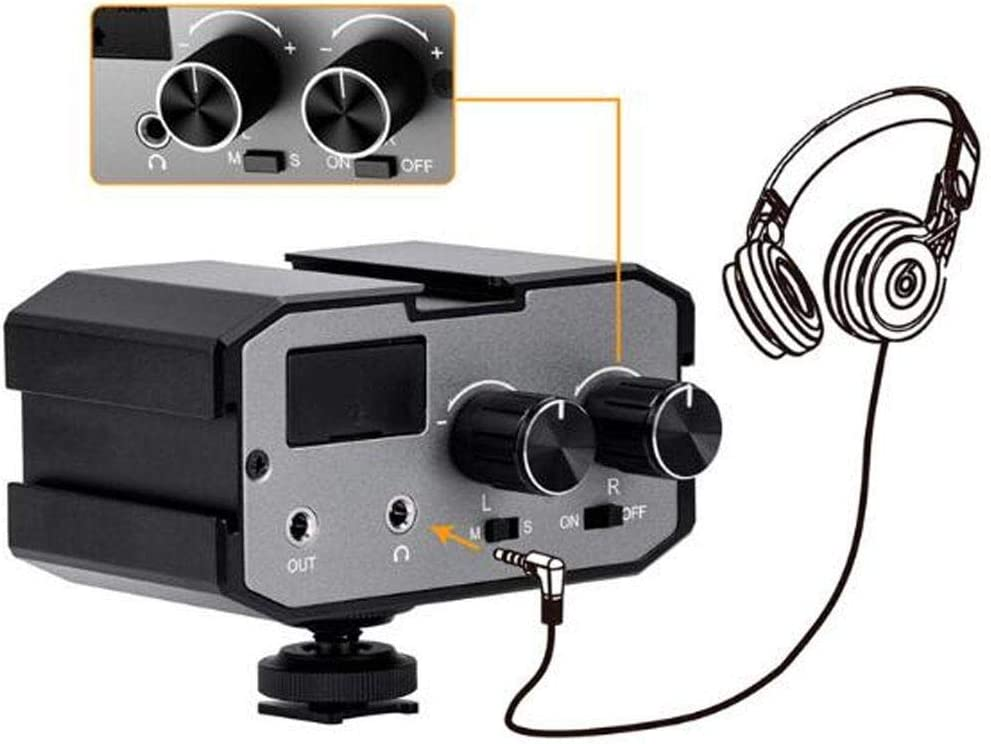 CVM-AX1 Microphone Mixer Adapter,Metal 3.5mm Mono Stereo Dual Channel Audio Mixer with Hot Shoe Mount and Audio Cable for Audio Recording with Camera