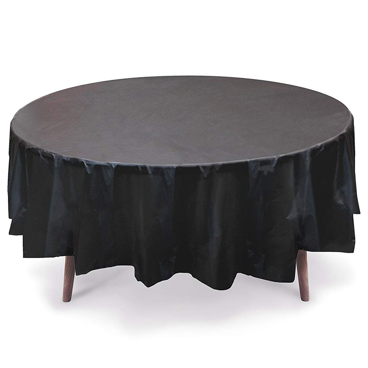 36 Pack Disposable Plastic Tablecloth 84 Inch Round Table Cover Black Table Cloth Protector for Wedding Graduation Birthday Christmas Parties Outdoor Picnic BBQ Buffet Holiday Dinner Large Waterproof by IceFire