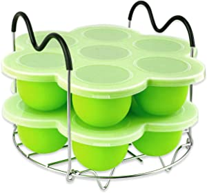 Silicone Egg Bites Molds for Instant Pot Accessories,Including Steamer Rack Trivet,Set for 6 qt & 8 qt Electric Pressure Cooker,Versatile Egg Poachers with Silicone Lid 2 PACK- Green