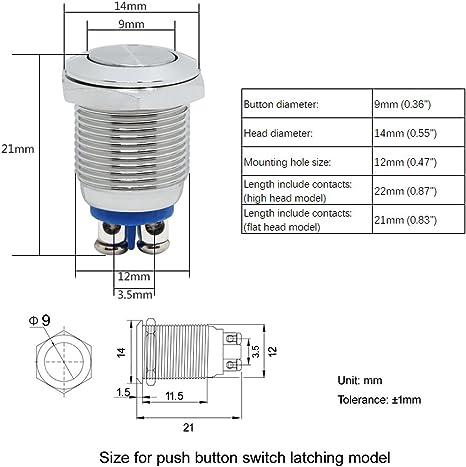 Coolais Bouton poussoir momentan/é /à vis Bouton poussoir /étanche 12 mm 3 A 250 VAC t/ête haute