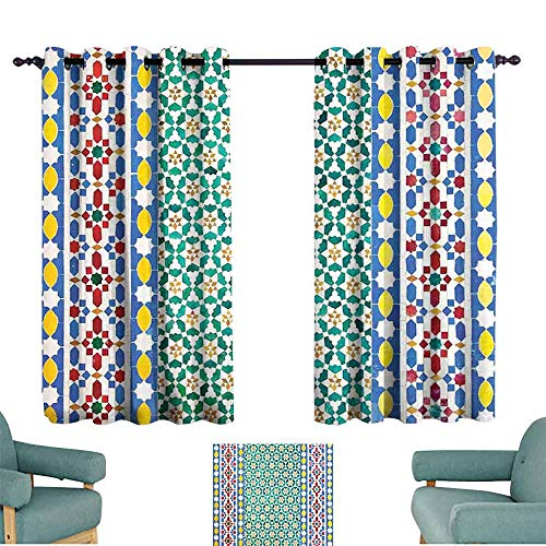 HCCJLCKS Heat Insulation Curtain Moroccan Decor Colorful Moroccan Mosaic Wall Mideast Style Craftsmanship Vertical Details Privacy Protection W63 ()