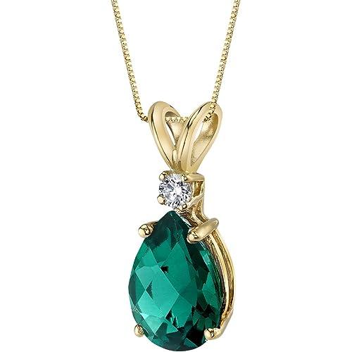 14 Karat Yellow Gold Pear Shape 1.75 Carats Created Emerald Diamond Pendant