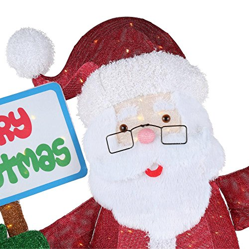 Home Accents Holiday 60IN 200L LED TINSEL SANTA WITH SIGN by Home Accents Holiday (Image #2)