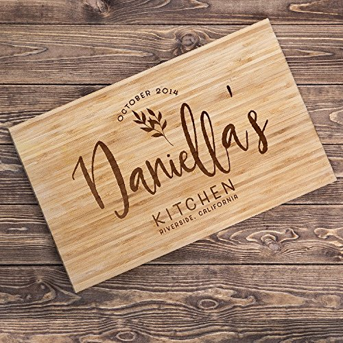 Lily's Atelier Custom Engraved Cutting Board - Wedding, Anniversary, Housewarming, Birthday, Corporate Gift and for Awards - Customizable, Personalized Date, Name and Location - - T2 Locations