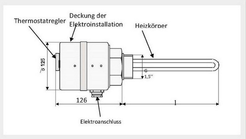 3,75 kW Elektroheizstab Solar Pufferspeicher Heizpatrone