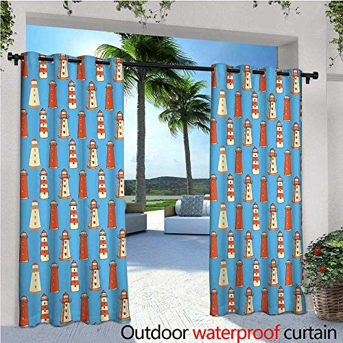 (cobeDecor Lighthouse Balcony Curtains Retro Sketch Style Cute Architecture Elements Marine Ornament Vintage Outdoor Patio Curtains Waterproof with Grommets W72 x L96 Vermilion Blue Cream)