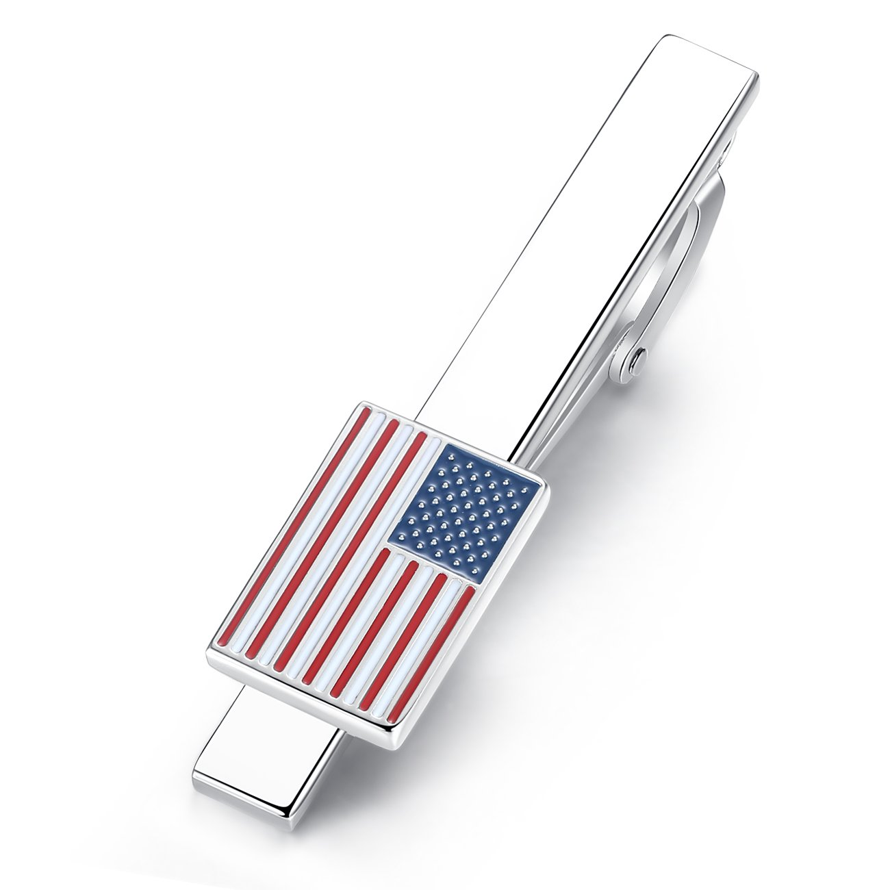 Honey Bear Mens US Flag Tie Clip Bar - Stars and Stripes American Flag, for Business Wedding Christmas Gift 5.4cm Kardex 118-tie