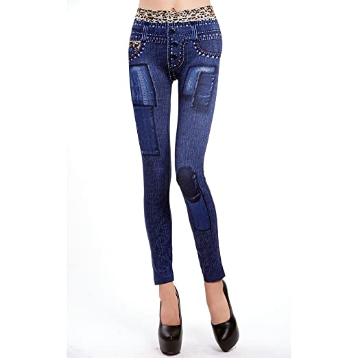 636d2cc5ff65a Womens Printed Leggings Fvanor Stretchy Sexy Jeggings Soft Pencil Tights  Pants Skinny high waisted (9053blue