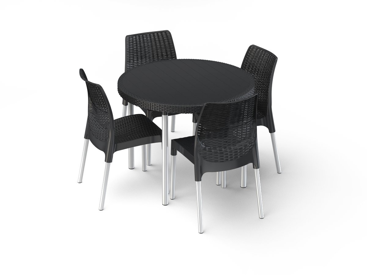 Keter Table Groupe Jersey, 1 table + 4 chaises, anthracite: Amazon ...