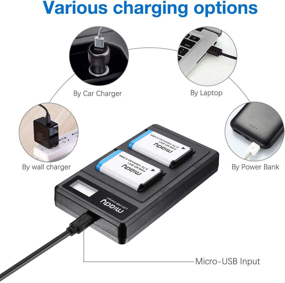 Miady NP-BX1 1500mAh Battery and Dual LCD Battery Charger Set Compatible with Sony NP-BX1//M8 and Sony CyberShot DSC HX90 HX95 HX99 RX100 WX350 HX400V HDR AS100V FDR X1000 X3000