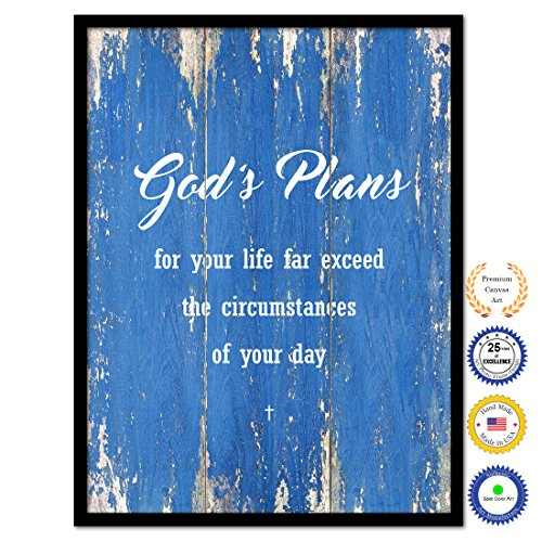 God's Plans For Your Life Far Exceed The Circumstances Of Your Day Bible Verse Scripture Quote Canvas Print Picture Frame Home Decor Wall Art Gift Ideas 13