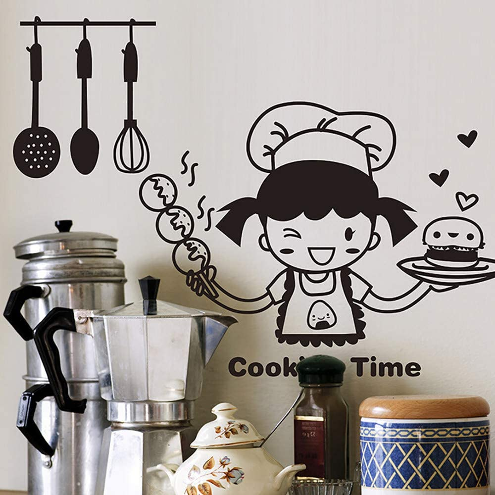 MISSWongg/_Pegatinas de pared Linda Chica Cocinando Cocina de Vinilo Tatuajes de Pared Decoraci/ón para el Hogar DIY Decoraci/ón de la Habitaci/ón Pegatinas de Pared Frases Material de PVC,20x30cm