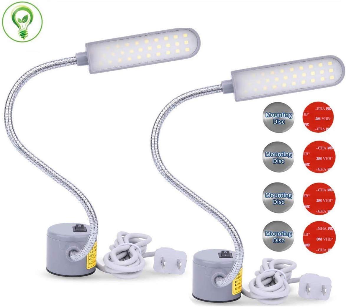 EVISWIY Sewing Machine Light LED Lighting 30LEDs 6 Watt Multifunctional Flexible Gooseneck Arm Work Lamp with Magnetic Mounting Base for Workbench Lathe Drill Press 2 Pack