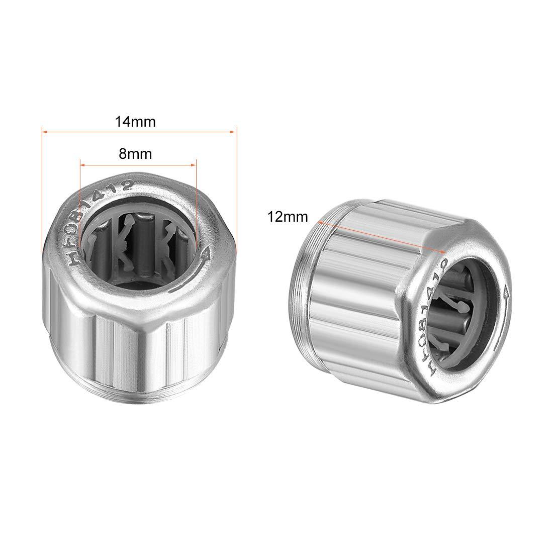 12mm ancho 3 unidades rodamientos de una v/ía de 8mm de di/ámetro 14mm de di/ámetro exterior sourcing map Rodamientos de agujas HF081412