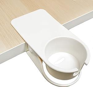 Drinking Cup Holder Clip for Table Desk Edge Side Clamps On Desk Side Holder Prevent Water Spillage (White)