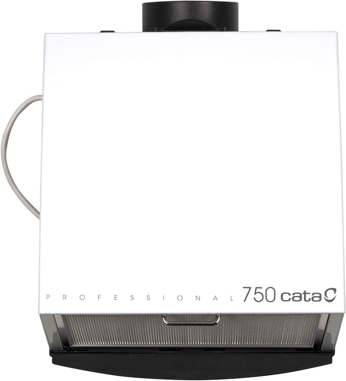 Cata Cocina silencioso | Modelo 750 | Ventilador Extractores de Aire | Color Blanco, 105 W, 49 Decibelios, Estructura de Metal