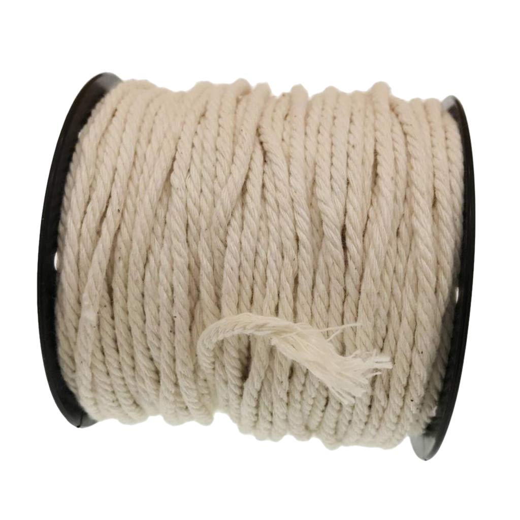 Decorative Projects,White Color Crafts 15m 1 Roll Macrame Cord Soft Cotton Macrame Rope Thread for Wall Hanging Plant Hangers Knitting