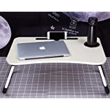 Mod Cons Laptop Desk 2019 Foldable Bed Study Table Portable Laptop Table Lapdesk for Children Bed Work Office Gaming Home with Tablet Slot & Cup Holder Bed Breakfast Serving Table W