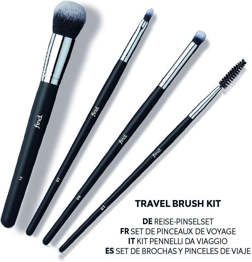 FIND - Kit de viaje - Pincel para pestañas, para sombras, de labios y para polvos (4 pinceles) - n.º 01, n.º 04, n.º 07, n.º 10: Amazon.es: Belleza