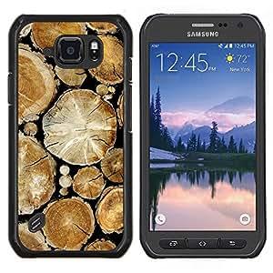 LECELL--Funda protectora / Cubierta / Piel For Samsung Galaxy S6Active Active G890A -- Pila de madera Cortar árboles de la selva Naturaleza --