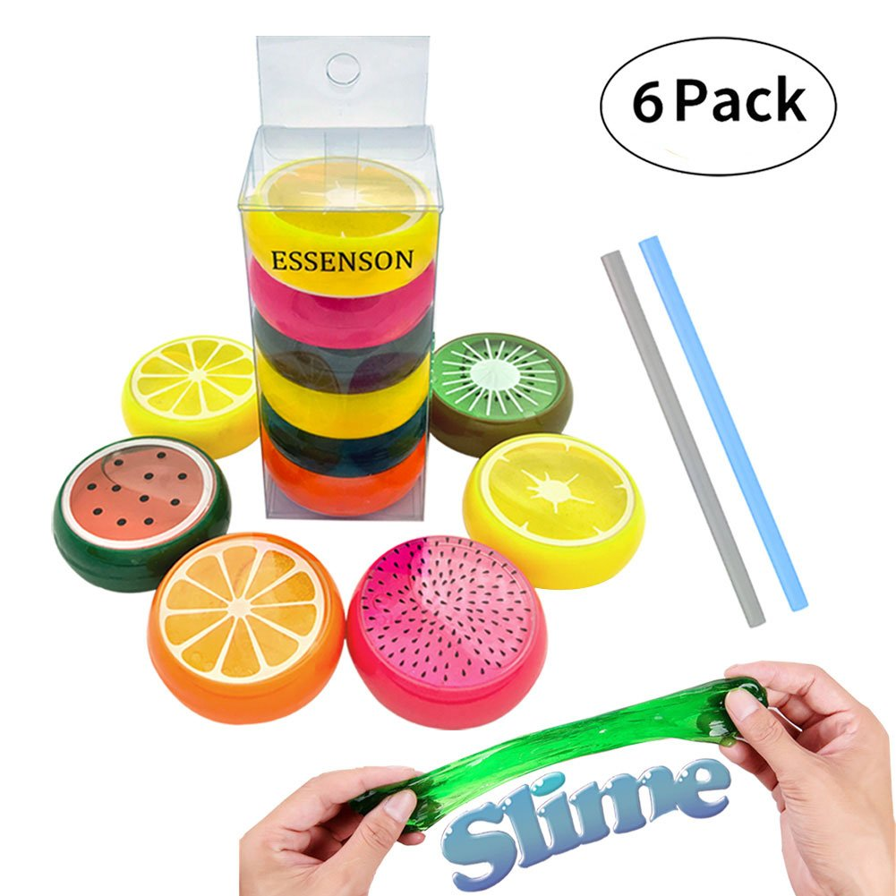 ESSENSON Magic Crystal Slime Putty Toy Soft Rubber Fruit Slime for Kids, Students,Birthday,Party - 6 Pack with 2 Straws