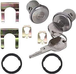 2PCS Door Lock Cylinder Set Front Left/Right,Compatible with Chevrolet Truck C10 C20 C30 GMC 1500 2500 3500 1965-1987 SUV Blazer Jimmy Suburban Van Buick Apollo Electra LeSabre Pontiac GMC Ventura