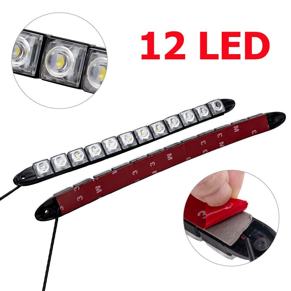 SUNWAN 2 Piezas 10 LED luz Diurna para Coche luz Blanca DRL luz antiniebla luz de d/ía Impermeable conducci/ón Faros Delanteros