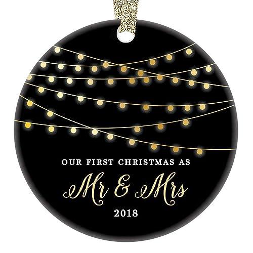 Mr & Mrs First Christmas 2018 Ornament Porcelain Keepsake Gift Idea for  Husband Wife 1st Holiday - Amazon.com: Mr & Mrs First Christmas 2018 Ornament Porcelain