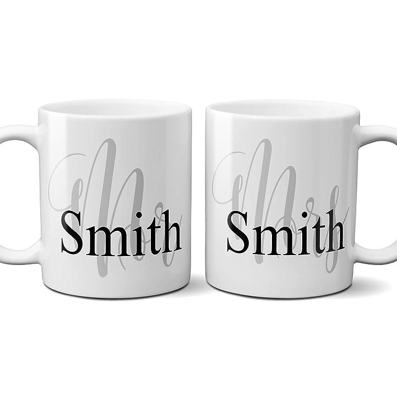 Mr And Mrs Personalized Gift Custom Name Coffee Mug Wedding Gift For Couple Set Of 2 11 Ounce Handmade Amazon Com