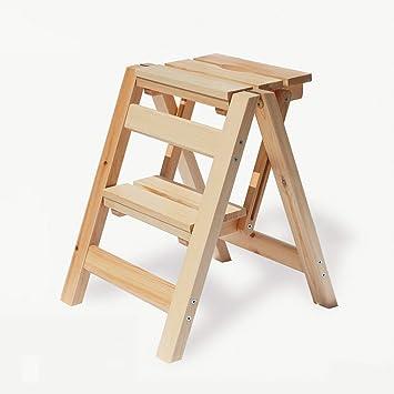 SED Escaleras de tijera multiusos Escalera plegable Taburete de 2 escalones/ escalones Soporte de flores Taburete de madera Taburete de escalera antideslizante portátil: Amazon.es: Bricolaje y herramientas