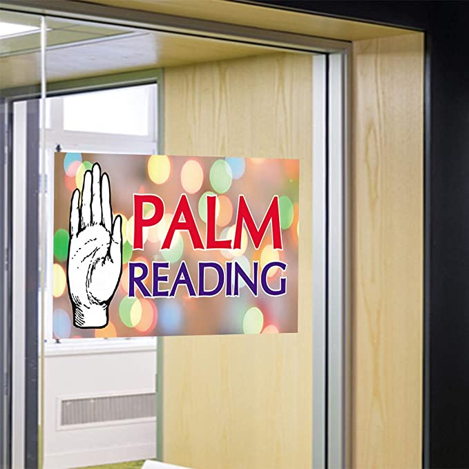 52inx34in Set of 2 Decal Sticker Multiple Sizes Palm Reading Fantasy Palm Reading Outdoor Store Sign White