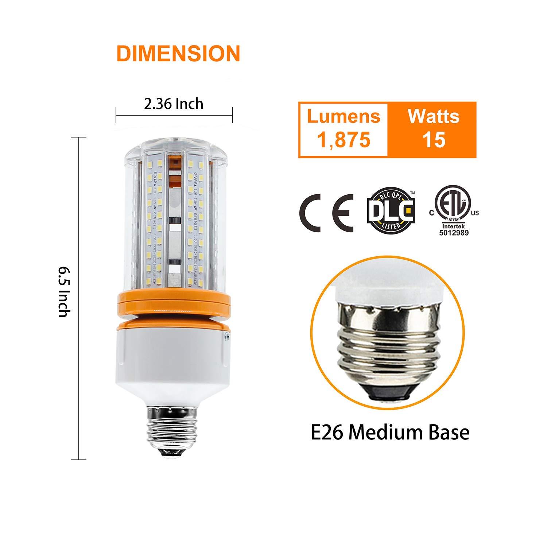 15W LED Light Daylight White 5,000K Medium Base E26 Corn COB Bulb for Indoor Outdoor Garage Backyard Energy Saving Lamp