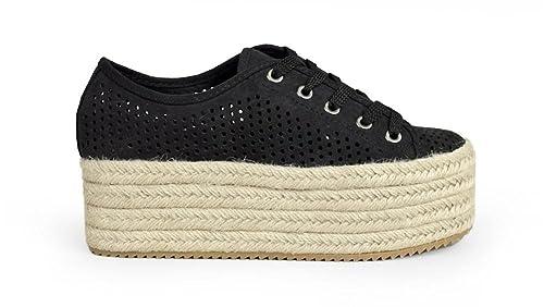 Bosanova Zapatillas Deportivas con Picados y Pataforma de Esparto para Mujer: Amazon.es: Zapatos y complementos