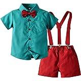 Tem Doger Baby Little Boys Summer Outfit Shirt Bowtie Vest Suspender Pants Shorts Gentleman Set Overalls Clothes 6mos.-6T